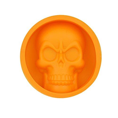 (UMFun Funny Skull Shape Silicone Ice Tray Mold Muffin Cake Chocolate Baking Mould Tool 6x6cm (Orange))