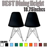 2xhome Set of 2 Black Desk Chair Mid Century Modern Plastic Molded Shell Assembled Chairs Chrome Wire Metal Eiffel Side Armless No Arms DSW for Work Office Dining Living Kitchen Bedroom