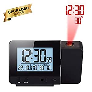Houkiper LED Display Projector Clock con Retroiluminación con Pilas Gire Reloj Despertador para el Dormitorio en el Hogar (Black): Amazon.es: Hogar