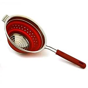 Silicone Stainless Knockdown Collapsible Colander Strainer Red
