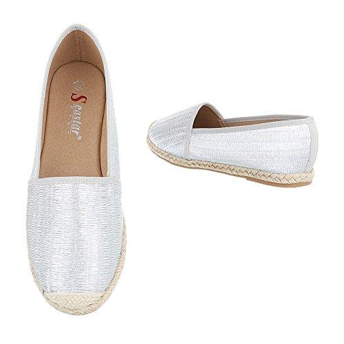 Ital-Design Slipper Damenschuhe Low-Top Moderne Halbschuhe Silber