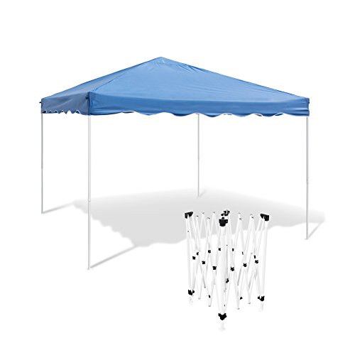 Relaxdays Faltpavillon HBT: ca. 2,45 x 3 x 3 m Faltbarer Pavillon für Garten, Camping und Festival Partyzelt mit Stahl-Gestänge und wasserabweisendem PE-Dach Gartenpavillon und Sonnenschutz, blau