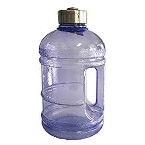 2.3 Liter BPA Free Reusable Plastic Drinking Water Bottle Jug Container w/ Hand Holder Canteen and with Stainless Steel Cap - Dark Blue