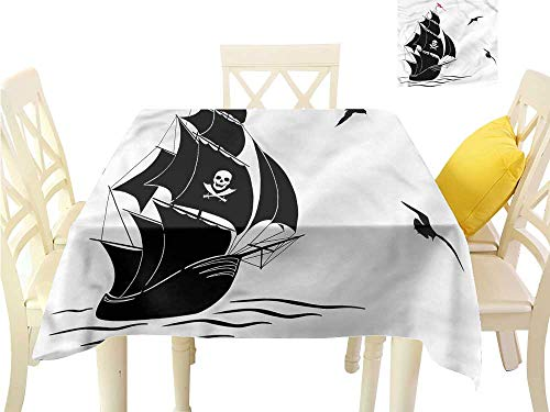 - WilliamsDecor Dinning Tabletop Decoration Pirate,Silhouette of Old Sail Ship Outdoor Picnics W 70