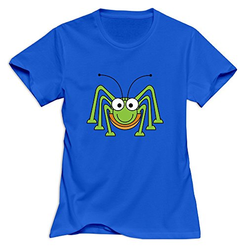 (Women's Funny Slim Fit Cute Green Spider T-Shirt RoyalBlue US Size XL)