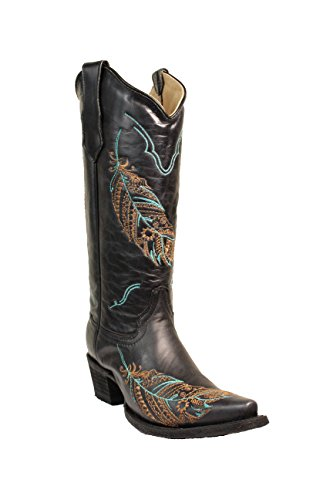 - Corral Circle G Women's 14-inch Black Turquoise/Tan Feather Embroidery Snip Toe Pull-On Cowboy Boots - 6.5 B