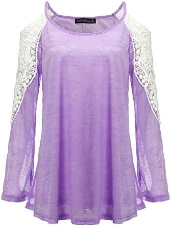 ZANZEA Women's Lace Off Shoulder Crochet Long Sleeve 6 Colors Beach Blouse