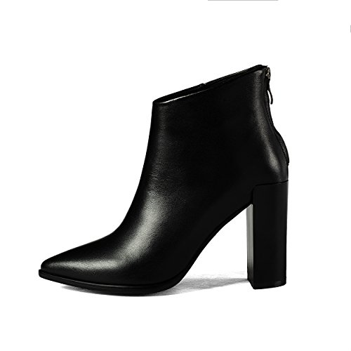 Ankle Women Toe Leather Ladies Zipper Block Heels High Genuine Boots Heels Black Pointed Sexy narvaxqP