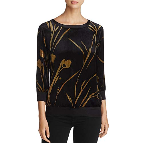 Lafayette 148 New York Womens Nessa Silk Blend Ribbed Pullover Top Black P from Lafayette 148