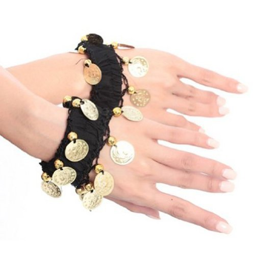 BellyLady Belly Dance Wrist Ankle Cuffs Bracelets, Halloween Costume Accessory-Black -