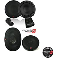 CERWIN VEGA XED650C 6.5-Inch 300 Watts Max 2-Way Component Speaker Set W/ Cerwin-Vega XED693 350W 6 x 9 3-Way Coaxial Speakers