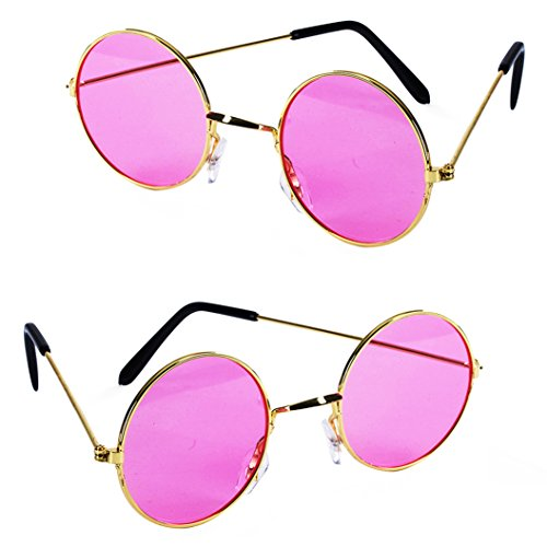 Tigerdoe John Lennon Sunglasses - 2 Pack - Costume Glasses - Lennon Sunglasses - Retro Costume Glasses (2 Pack Pink Glasses)]()