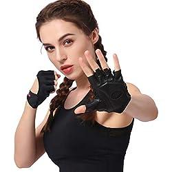Anser 7150282 Woman Lycra Half Finger Girl Short Fingerless Gloves for Indoor Yoga Gym Fitness Body Building Training (Black, ML)