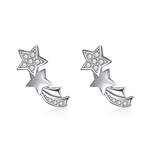 POPLYKE Sterling Silver Mini Star Stud Earrings for Women Teens Girls Child
