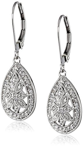 10k White Gold Filigree Teardrop Diamond Earrings (1/4 cttw, I-J Color, I2-I3 Clarity)