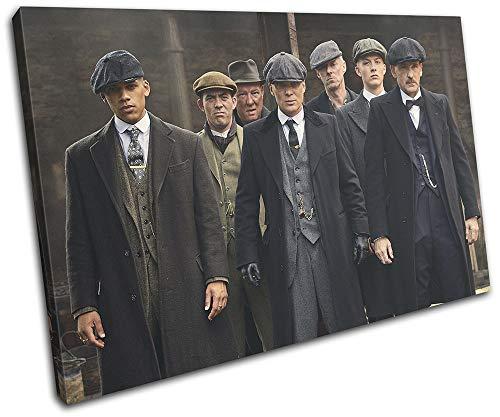 Diseño de bloque en negrita - Peaky Blinders Thomas Shelby TV 75x50cm Cuadro de impresión de lienzo individual Cuadro enmarcado Colgante de pared - Hecho a mano en el Reino Unido - Enmarcado y listo para colgar 13-4011 (00B) -SG32-LO-C