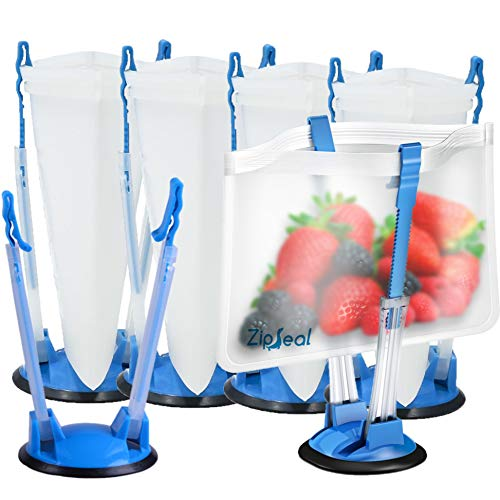 6 Pack Baggy Holder Stand – Hands Free Freezer Meals Prep – Baggy Rack Holders – Zip Lock Bag Stands for Gallon to…