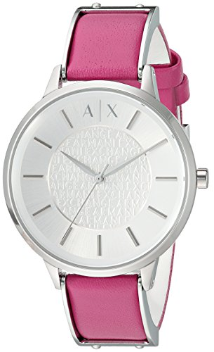 Armani Exchange Women's Quartz Stainless Steel and Leather Casual Watch, Color:Pink (Model: AX5322)