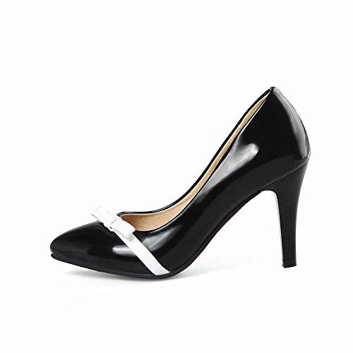 Carolbar Women's Elegant Charm Bow Pointed Toe High Heel Court Shoes Black BDf13SOLy