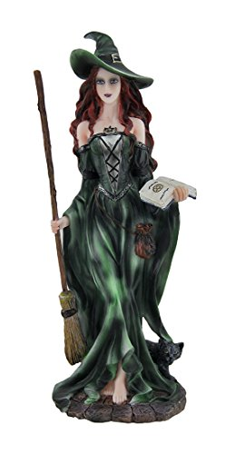 Zeckos Green Witch and Black Cat Walking w/Broom and Spellbook Statue ()
