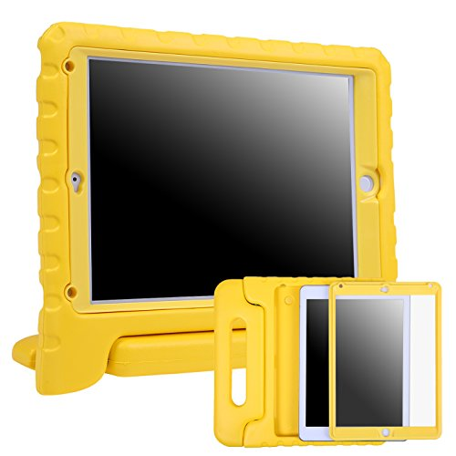 HDE Case for iPad Air 2 - Kids Shockproof Bumper Hard Cover Handle Stand with Built in Screen Protector for Apple iPad Air 2 - 2014 Release 2nd Generation (Yellow)