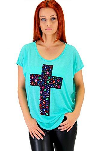 Angesagtes Shirt mit Kreuz Mintgrün