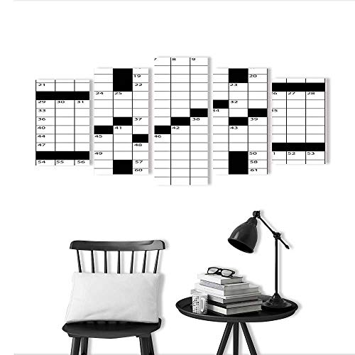 Wall Art for Living Room Decor 5 Piece Set Frameless Blank Newspaper Style Crossword Puzzle with Numbers in The Word Grid for Home Modern Decoration Print -