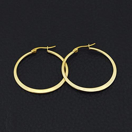 30 mm Boucles doreilles cr/éoles en or jaune 9 carats pour femmes rondes /à fermoir /à cliquet Yumay