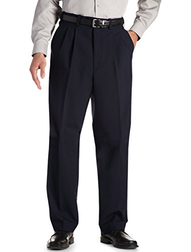 Mens Comfort Stretch Wool Dress - Gold Series DXL Big and Tall Continuous Comfort Pleated Suit Pants