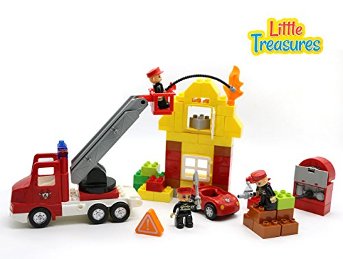 Fire rescue Brick 69-pcs Playset - Firefighters are Extinguishing a Pretend Burning...