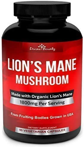 Organic Lions Mane Mushroom Capsules – 1800mg Strongest Lion s Mane Mushroom Supplement – Non-GMO Nootropic Brain Supplement Immune System Booster from Mushroom Extract Powder – 90 Vegetarian Caps