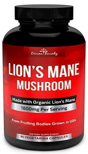Organic Lions Mane Mushroom Capsules - 1800mg Strongest Lion's Mane Mushroom Supplement - Non-GMO Nootropic Brain Supplement & Immune System Booster from Mushroom Extract Powder - 90 Vegetarian Caps
