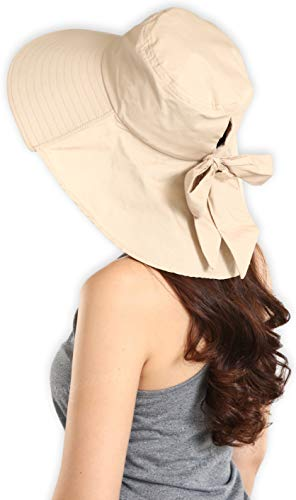 278688c9661 Brook + Bay UV Protection Cotton Sun Hat with Ponytail Hole & Chin Strap -  Packable & Stylish Wide Brim Summer Hat for Women.