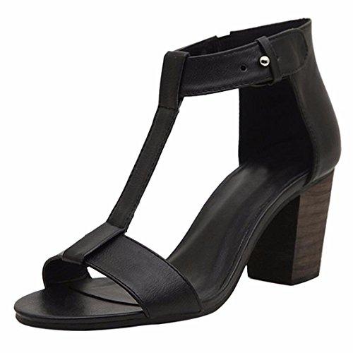 Zapatos negros de verano Tacón de cuña formales Qiyun.z para mujer KkEhRz5LHg