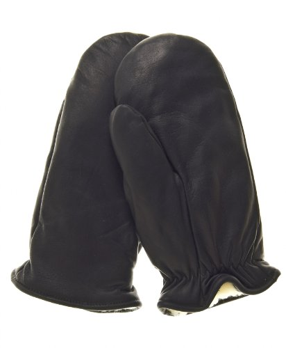 Mittens Cowhide Leather (Raber Gloves Women's Winter Cowhide Leather Mitten Size L Color Black)
