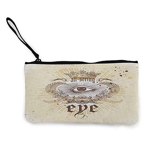 - Zip Mini Wallet Eye,Artistic Vintage Emblem Eye Victorian Laurel Branches Crown Calligraphy, Pale Yellow Brown White W8.5