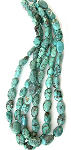 Genuine Blue Turquoise Gemstone Graduating Rounded Potato Nugget Beads, 16 Inch Strand