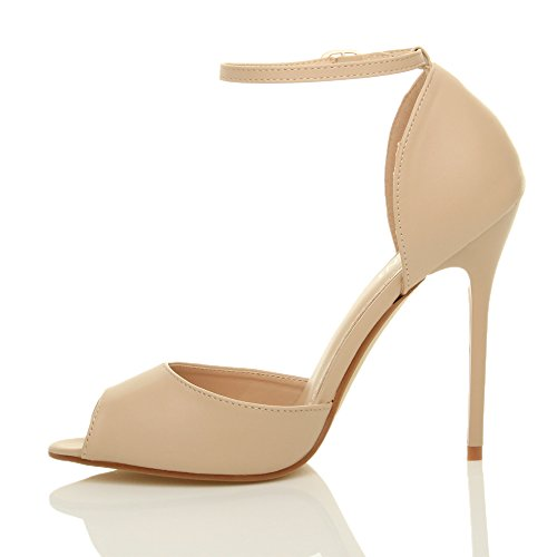 Ajvani Stiletto Damen Toe High Damen Abend Schnalle Peep Ankle Schuhe Party Court Heel Strap Sandalen rrIqS