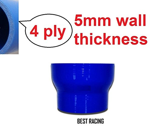 Blue 3.5'' - 4'' Straight Reducer Silicone Hose 89mm to 102mm ()