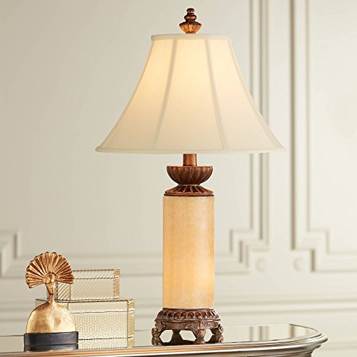 - Traditional Table Lamp with Nightlight Bronze Onyx Column Off White Bell Shade for Living Room Family Bedroom - Barnes and Ivy