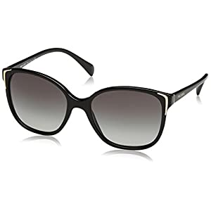 Prada PR01OS 1AB3M1 Round Sunglasses, Black, 55mm