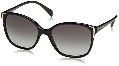 Prada PR01OS 1AB3M1 Round Sunglasses, Black, 55mm (Sunglasses Prada)