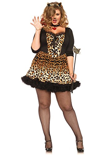 [Leg Avenue Women's Plus-Size 4 Piece Wildcat Costume, Leopard, 3X] (Plus Size Costumes)