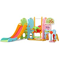 Toddler Swing and Slide Set w/ Basketball Hoop Stand & Music Player Children Fun Climber Slider Set for Indoor and…