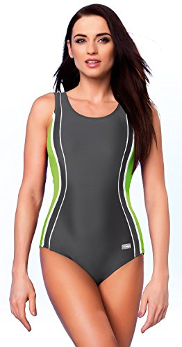 GWinner Damen Badeanzug Agata Women' Anthrazit/Grün 46