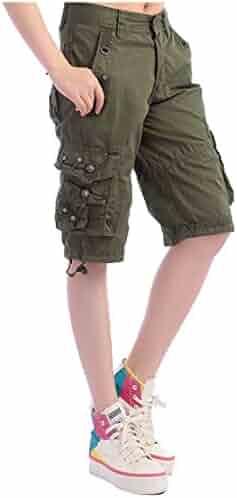438813b7ee Oberora-Women Casual Cotton Multi Pockets Loose Fit Ripstop Bermuda Cargo  Shorts