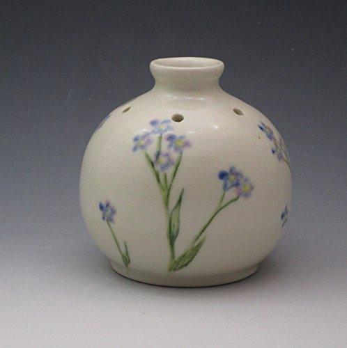 Handmade Porcelain Bud Vase, Essential Oil Reed Diffuser Handpainted in Forget Me Not - Hand Bud Painted Vase