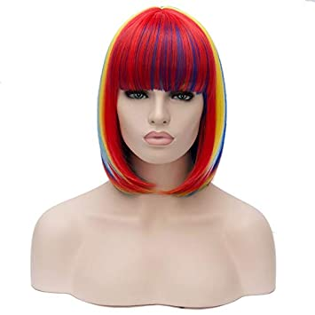 Short Rainbow Straight Women Bob Wigs Heat Resistant Cosplay Party Costume Synthetic Hair Colorful 12""