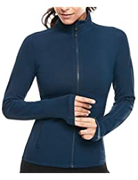 VUTRU Women's Workout Full Zip Up Stretchy Running Track Jacket w Thumb Holes