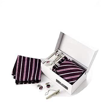 European style Male 8.5cm necktie set with 6 pcs stripe Tie Clip Cufflinks Hanky Necktie set Job interview Business formal for male for gift